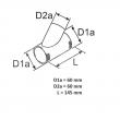 9009264 - Trójnik Y rozdziału powietrza 45 stopni 60mm WEBASTO